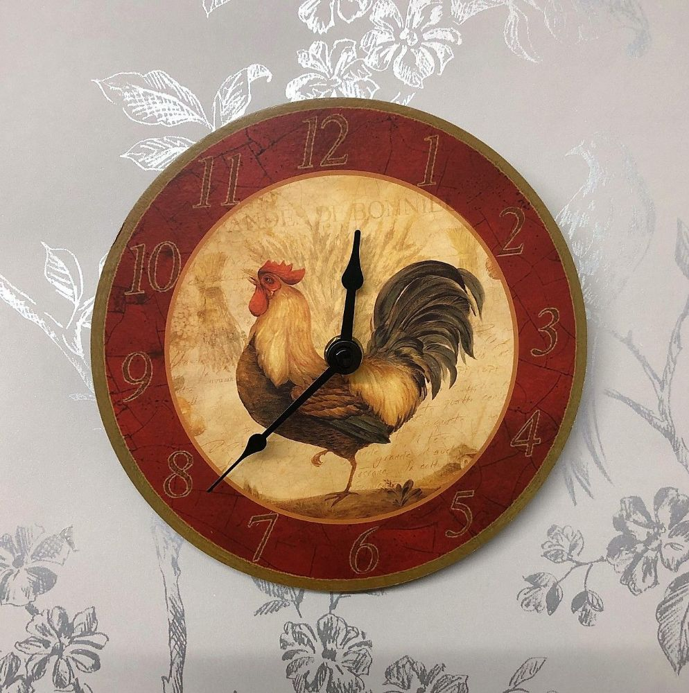 Rooster Small Kitchen Farmhouse Wall Clock 17 cm Facing Left